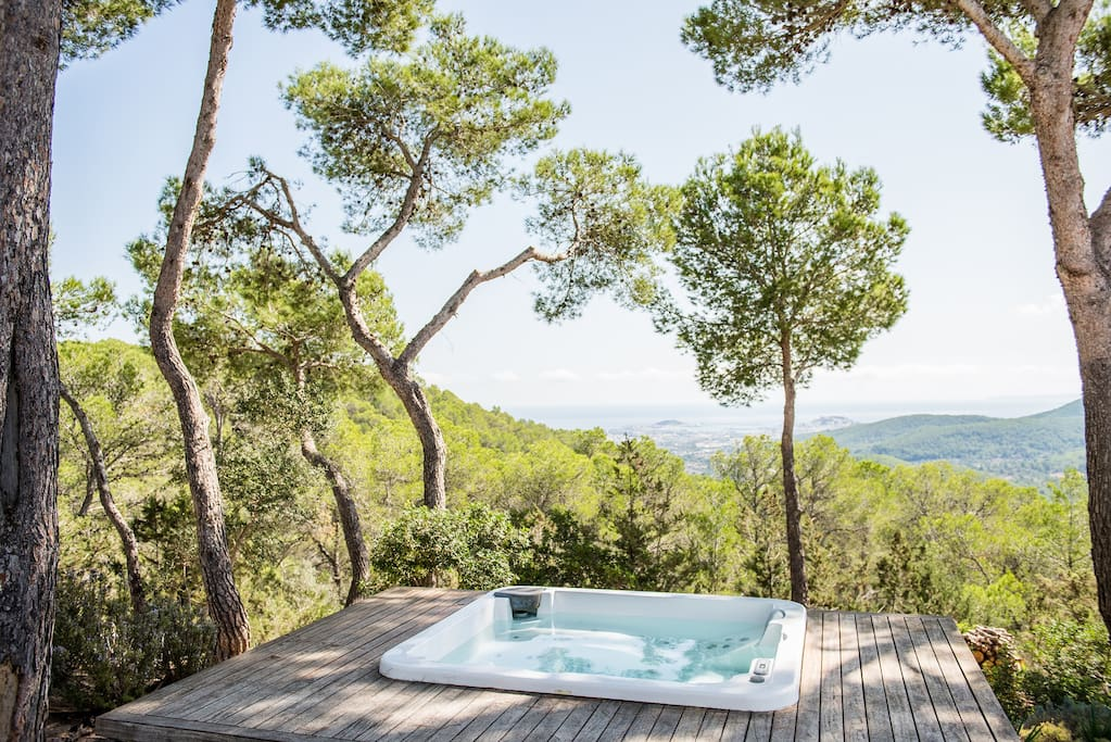 Hot tub with views of Ibiza town