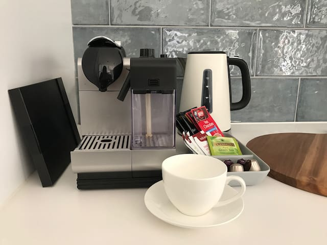 Nespresso Machine and pods included. Provisions for breakfast include cereal, spreads, bread, eggs, milk and more.