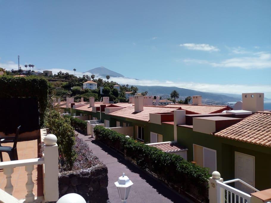 La terraza con vistas al Teide