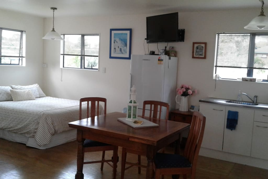 1 x Queen size bed - Also TV with Extensive movie collection.
