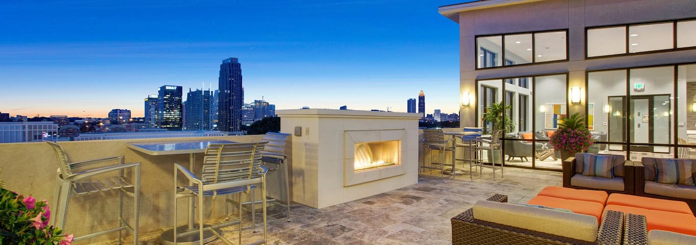 rooftop with fireplace and views