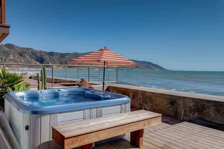 Stylish Oceanfront Dolphin House on a Sandy Beach