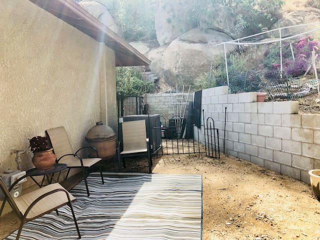 New***Private Guest Patio viewing up the mountain. You are also looking at the perimeter wall to your private room (outside view)