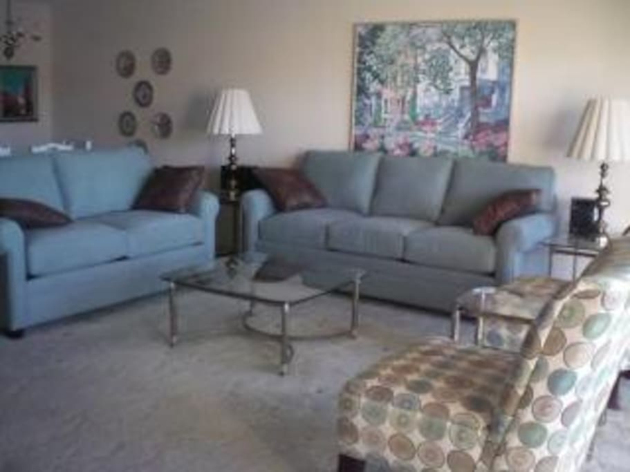 Laze in the living room on these cushy sofas