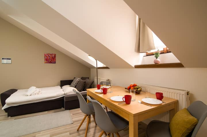 Comfortable studio in the heart of Prague w/ a kitchenette & garden view