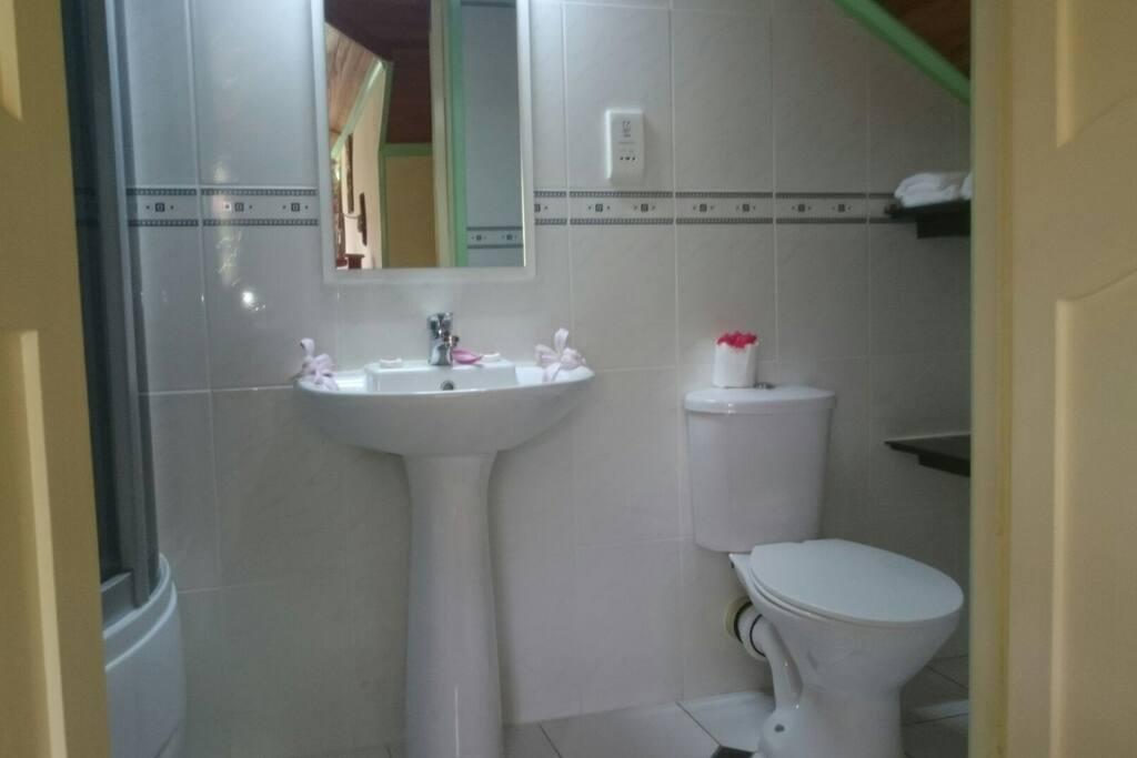 Private en suite with shower/ bath.