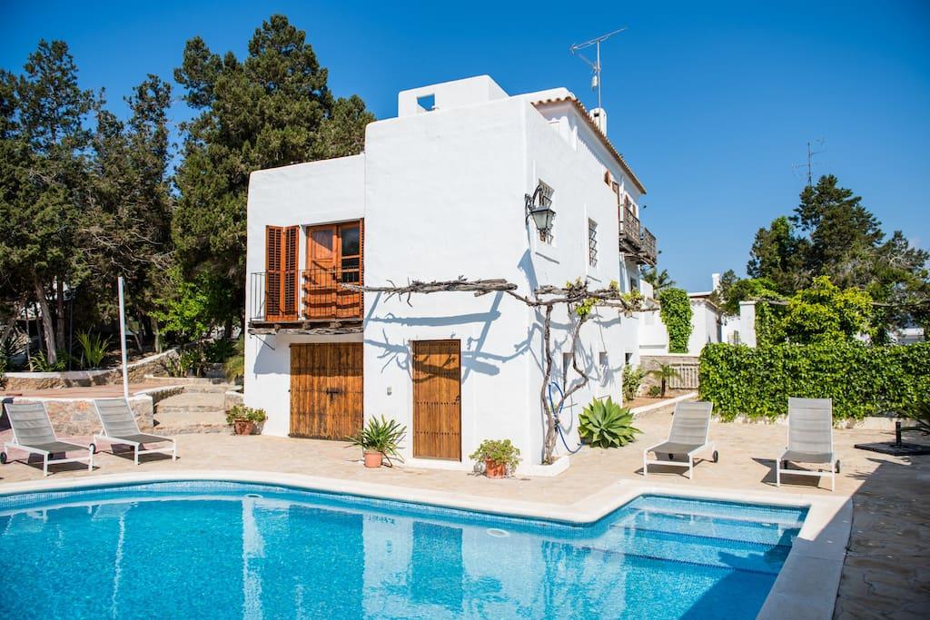beautiful facade of rustic Spanish villa