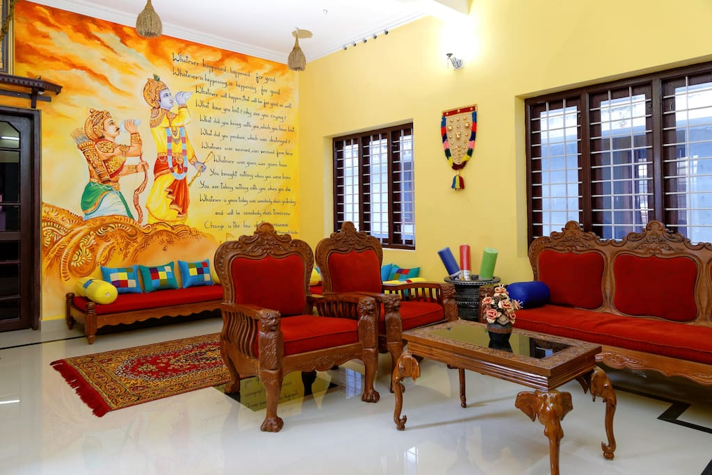 The mural painting depicting a scene from the 'Bhagavat Gita' in our main hall