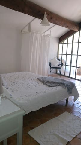 Large master bedroom with private terrace