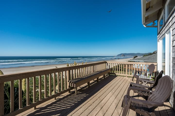 Pacific House  -  Oceanfront with spacious deck, view of Haystack Rock