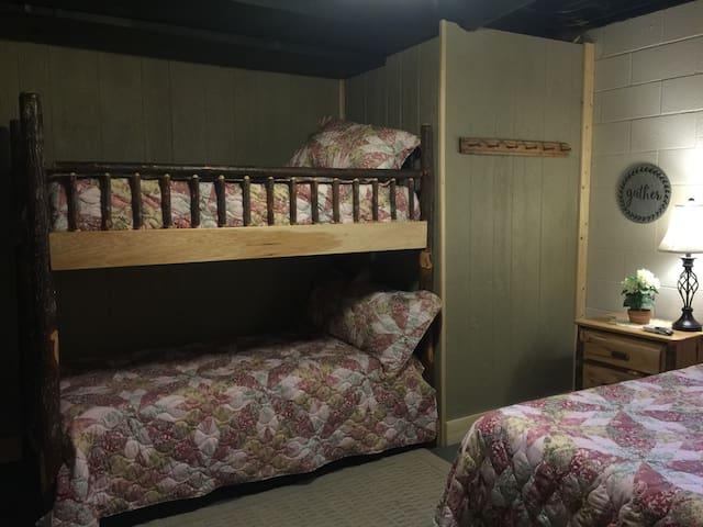 Twin over twin Bunk in Basement Bedroom