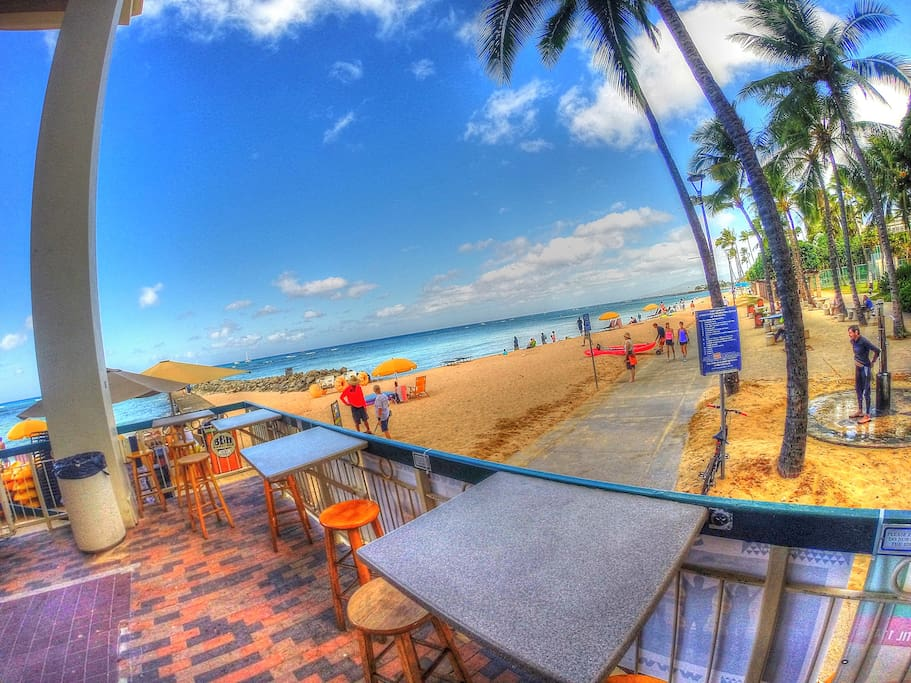 Waikiki Shore beach front eatery and rentals....