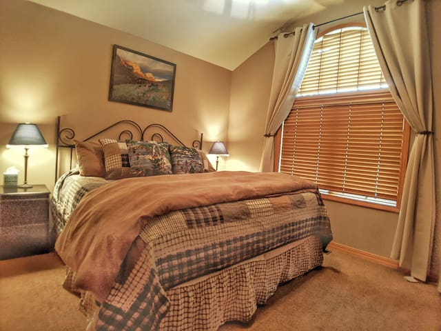 Junior Master Suite  has a luxury king size mattress, large closet & dresser, & HD flat screen TV with cable & streaming capabilities.