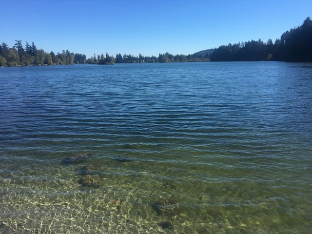 Only a 5 min walk and you will be at Langford Lake where you can swim , fish , or take a one hour hike around the lake ,  Or , a 5 min drive to Ed Nixon Trail , which is the far end of the lake , is a dog walking trail