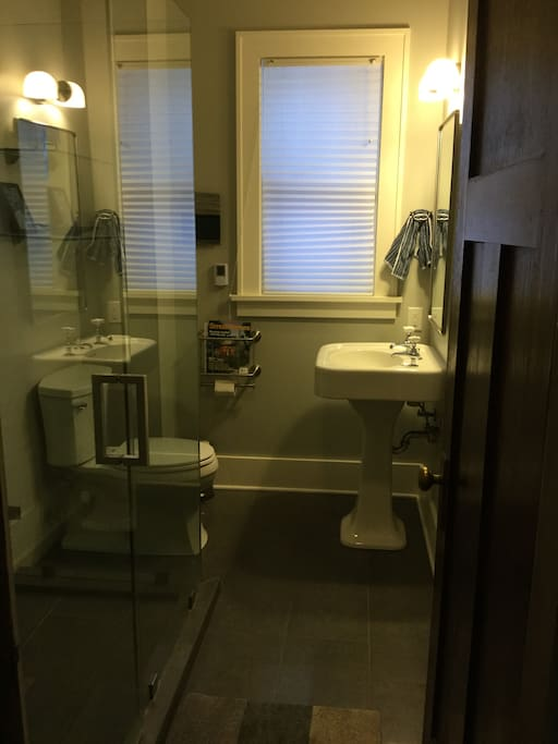 Lower Bathroom with 5 ft. glass shower
