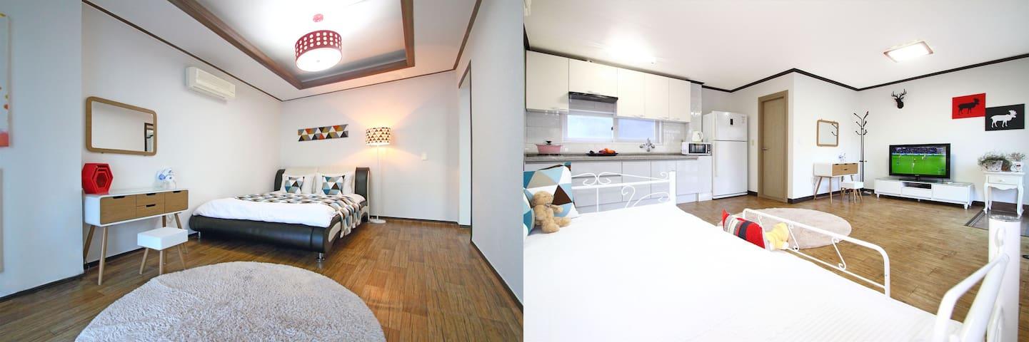 카사비앙카펜션-올리브룸(20평, 투룸) - Sanyang-eup, Tongyeong-si - 連棟房屋