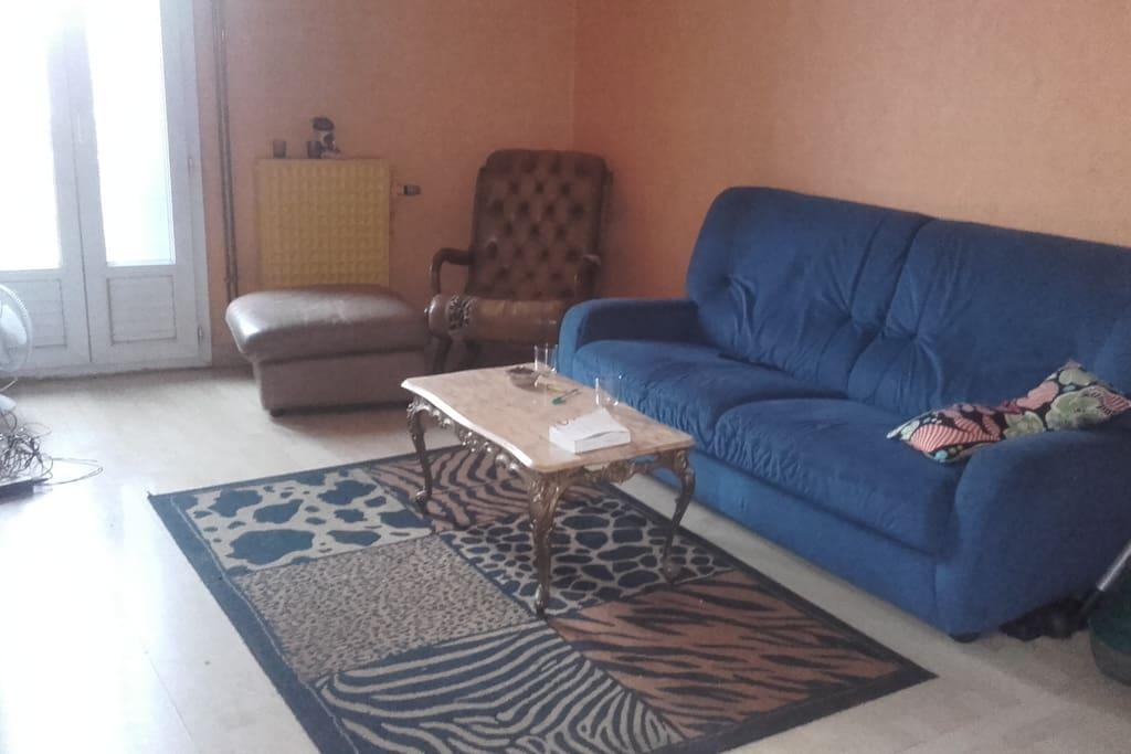 Le salon! TV, Internet, petit balcon + salle à manger.