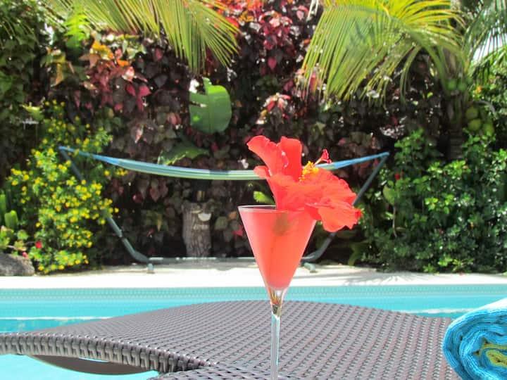 Cuarto Privado en casa con una piscina tropical