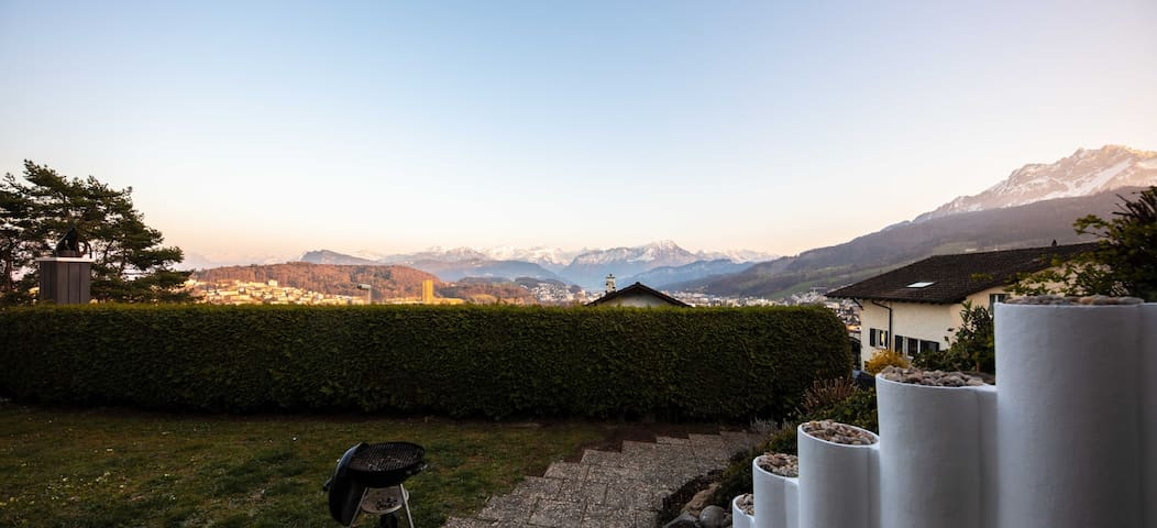the view from the garden ... if you dont like the houses in your view ... you just sit down and only see the alps :-)