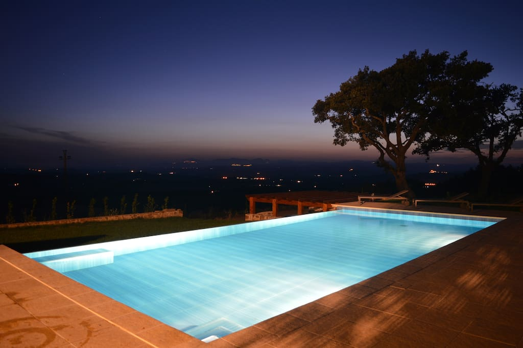 The infinity swimming pool at night