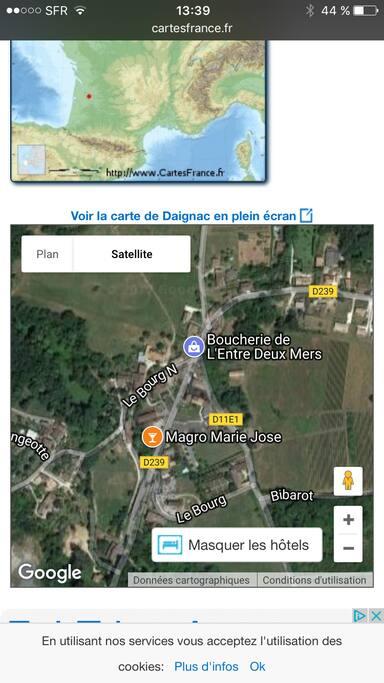 Vue satellite de Daignac