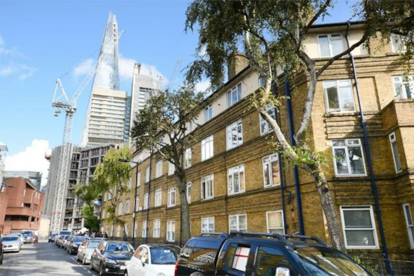 The flat is on a quiet residential street minutes from The Shard
