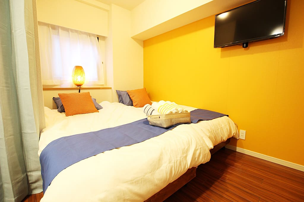Cozy room with 2 single beds and sofa bed. Very nice and light interior!