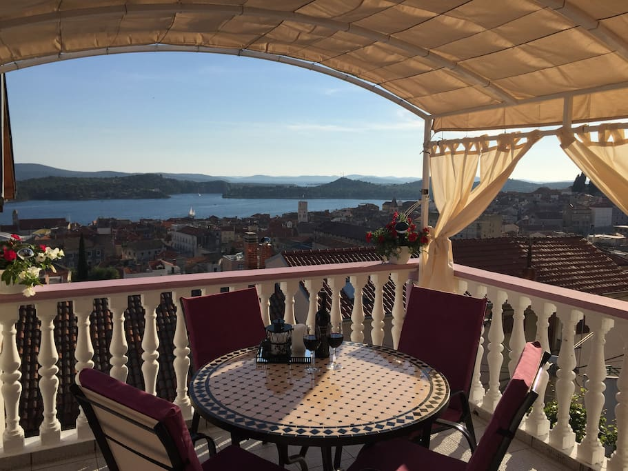 beautiful view of the sea and the city of Šibenik
