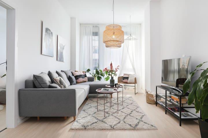 Stylish bright design high-ceiling apartment