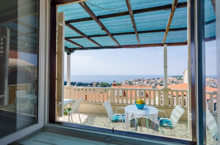 Rooms Nikola- Single Room with Terrace and Sea View