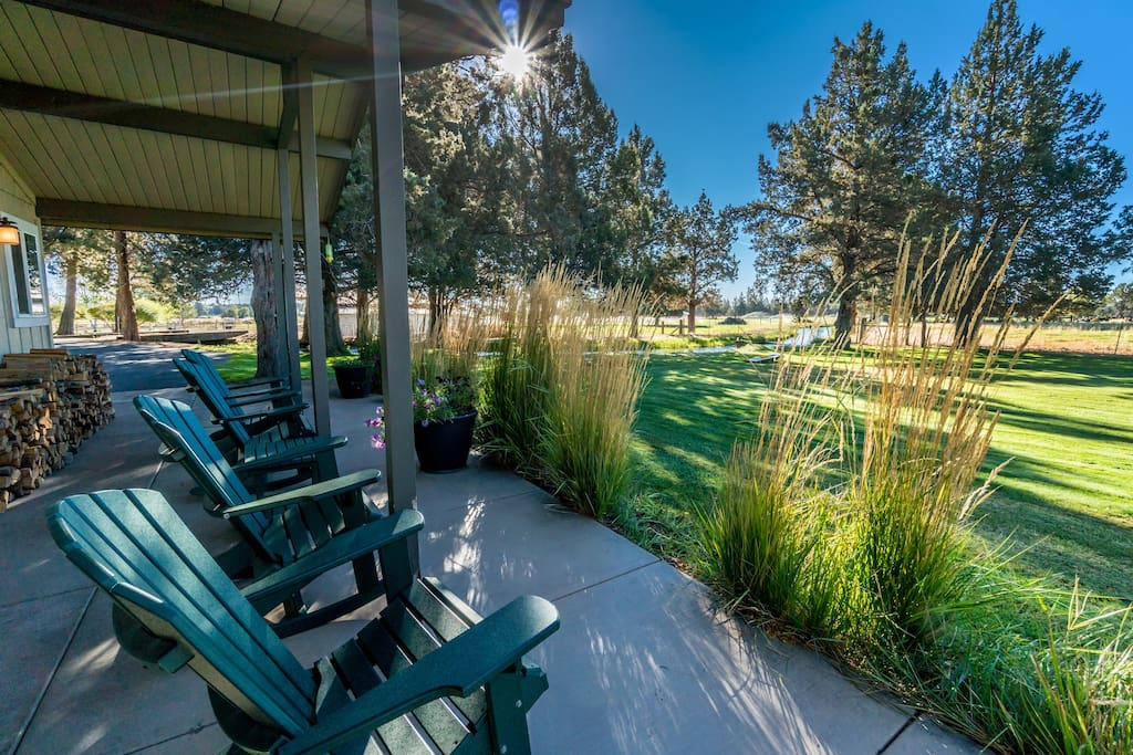 Relax in the comfy adirondack  chairs, with views of the creek (seasonal), yard and pasture.