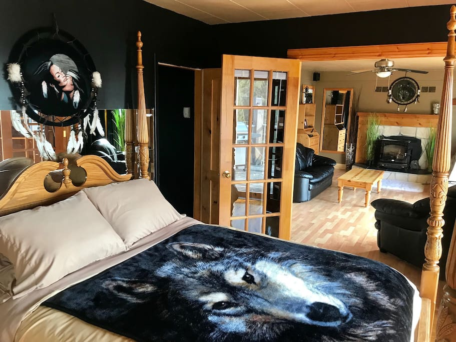 Master Suite Bedroom 2:  Very Cozy Perfect Couples Retreat! Enjoy the ambiance of the fire! Moon! Stars, Mountains, Nature ...Sliding door on the right  to your own private deck.