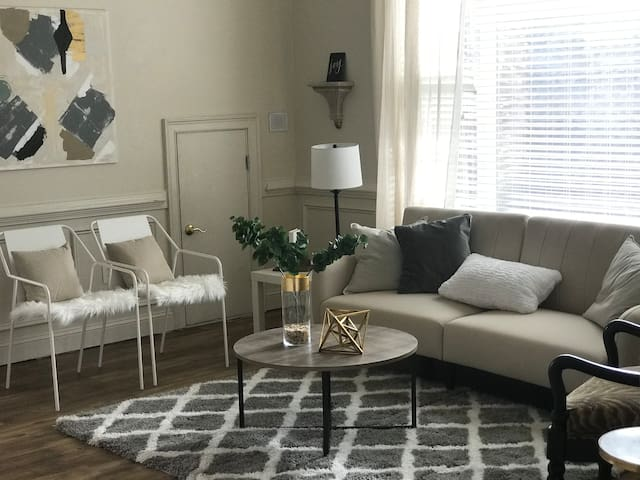 Get comfortable relaxing, lounging or hanging out in this living room area... with the main sofa able to transform into a sleeper option, if needed to accommodate a third guest!