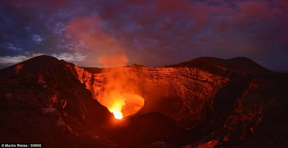 Masaya Volcano during night time.  The volcano is 25 min. away from this home.