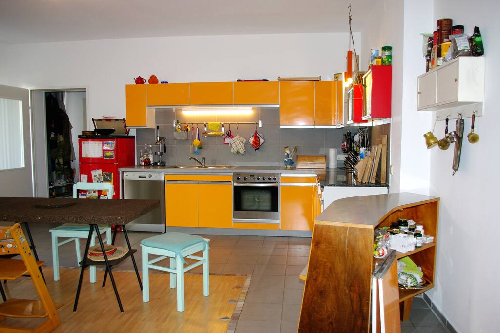 This is the kitchen. It's 34sqm and functions as our living room as well as the kitchen.
