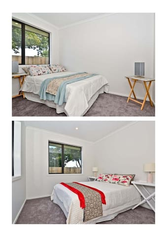 staged bedroom for promotional purposes (replaced/rearranged, different linen, bed, beddings)