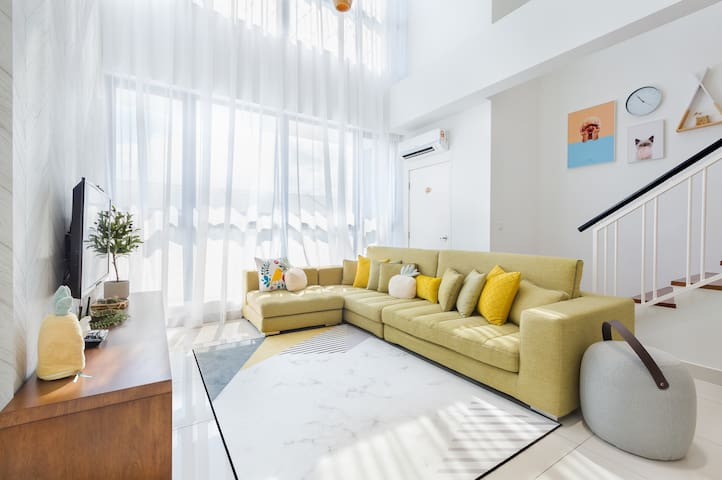 Comfortable living room area in ample light