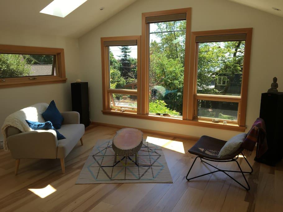 Bright, cozy lounge area.