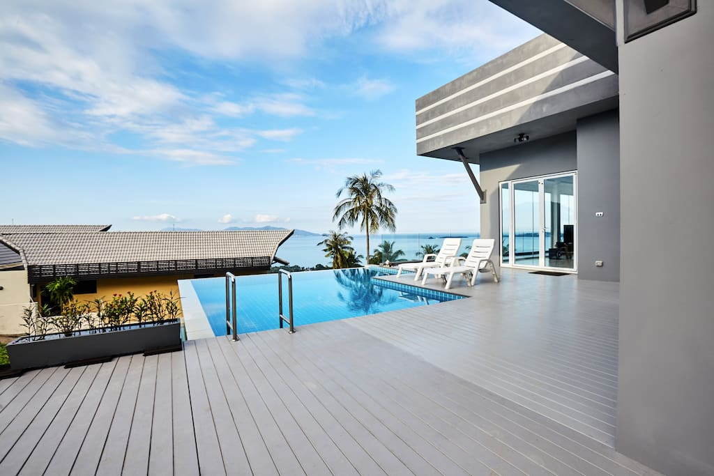 private swimming pool with stunning sea view