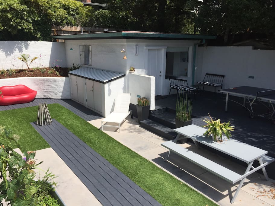 Shared Courtyard and Studio Guesthouse Deck.