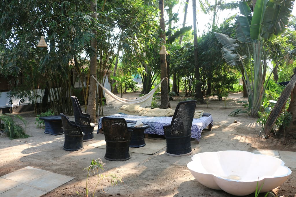 The Palm Grove with massive couch and always shaded with the palms even in the middle of the afternoon