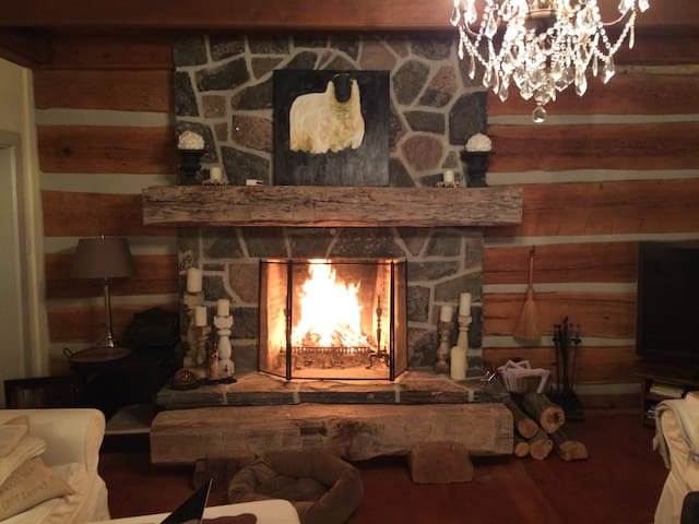 We have two very comfortable and large living rooms to relax in. The main living room in the original 1840s log farmhouse has a wood burning fireplace. Logs are stacked outside to keep the fire roaring on a crisp Fall evening.