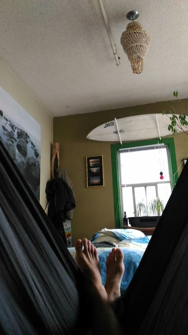 The bedroom - we have a bed, futon and a hammock.