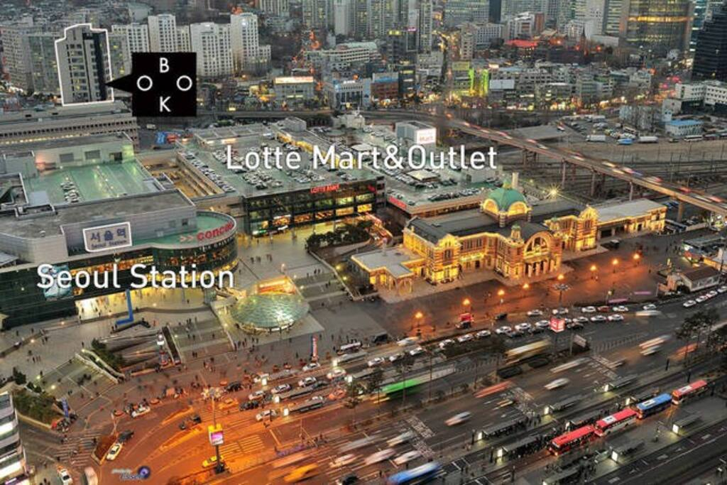 coffee shop and convenience store. A across the street : Lotte outlet & Mart (pharmacy and restaurant)