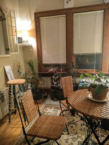 All purpose room--tea time/ working hard / sip a cocktail or glass of wine.