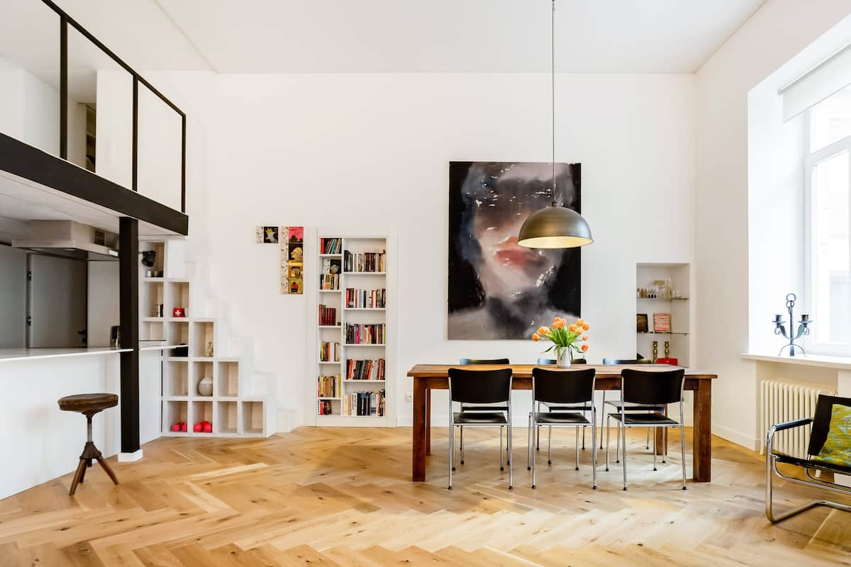 Modern Studio with Original Artwork in a Historic Building