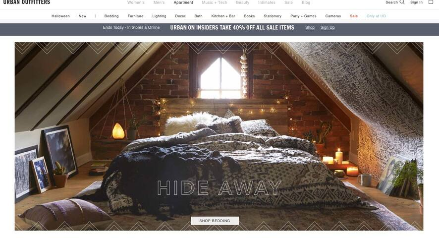 The attic apartment bedroom was featured on Urban Outfitters website!