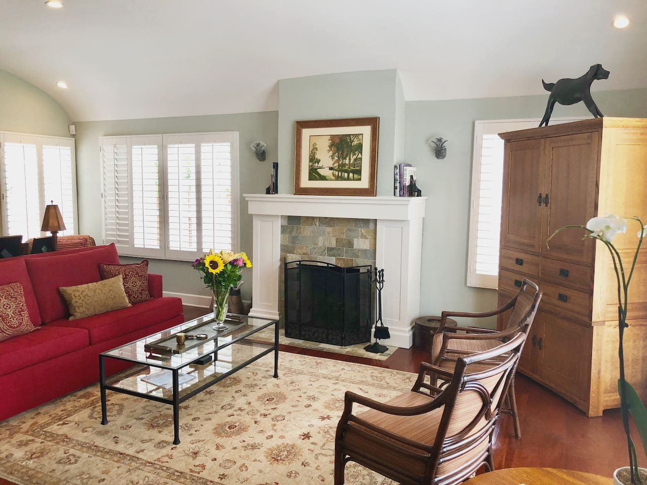 Welcome!  Our home, in one of San Diego's most historic and conveniently situated neighborhood's, is the perfect place for you to settle in and explore all that America's Finest City has to offer.  (Photo: Living room w/gas fireplace & sleeper sofa)