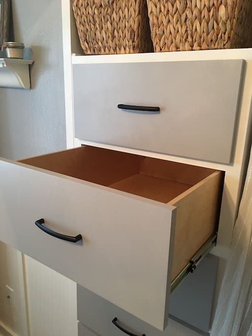 Custom built-in dressers are completely empty and ready if you'd like to unpack.
