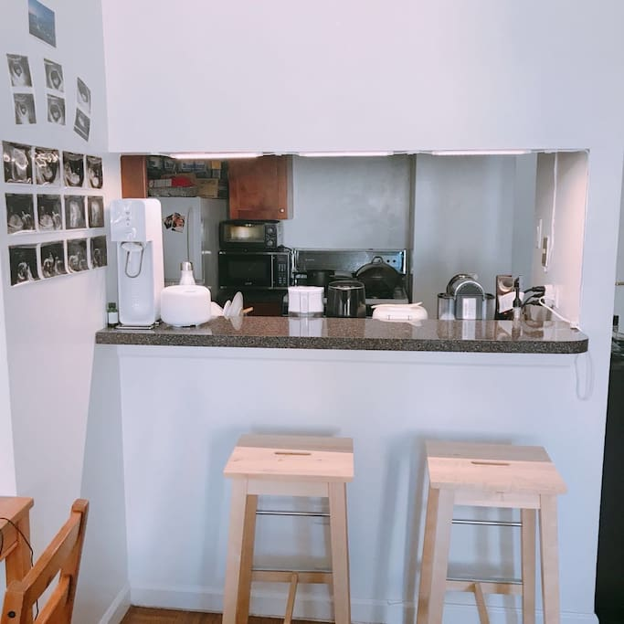 Open kitchen with high chair